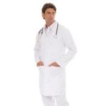 Jaleco Unissex Plus Size em Microfibra Gola Sport Branco