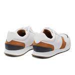Sapato Masculino Sneaker Jogging Napa Recortes Branco
