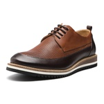 Sapato Masculino Derby Napa Pala Furadinha Bicolor Mouro-Amêndoa