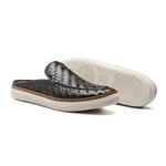 Sapato Masculino Mule Napa Tresse Bicolor Preto-Café-Musgo