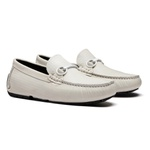 Sapato Masculino Driver Estampa Linho Bridao Branco Latego Branco