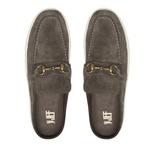 Sapato Masculino Mule Camurça Bridão Ouro Grafite