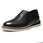 Sapato Masculino Oxford Casual Semi Brogue Vintage Preto