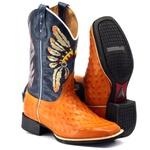 Bota Texana Masculina Estilo Avestruz Bordado Índio