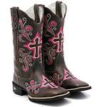 Bota Texana Feminina Cano Longo Cruz Rosa