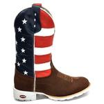 Bota Texana Toda em Couro Solado Branco Bico Redondo Americana