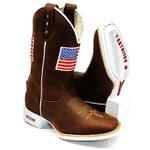 Bota Texana Solado Branco Bandeira Estados Unidos
