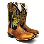Bota Texana Boiadeiro Cano Longo Bordado Dourado