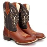 Bota Texana Masculino Bico Redondo Cano Longo - Bota de Rodeio