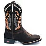 Bota Texana Masculina Preto Country - Bordado Arabesco