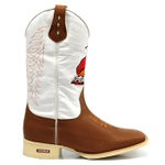 Bota Texana Sola Branca / Bege Peão de Elite Cano Longo Branco