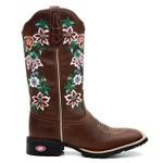 Bota Texana Feminina Contry Bordado Flores Silvestres