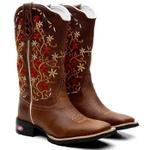 Bota Texana Feminina Bordado Flores Silvestres