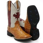 Bota Texana Canada Estilo avestruz + Carteira e Pulseira