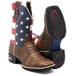 Bota Texana Escamada Americana Bico Quadrado + Carteira e Pulseira de Brindes