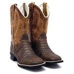 Bota Texana Country Cano Longo Escamada Bico Quadrado