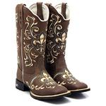 Bota Feminina Texana Country Flor de Liz Degrade