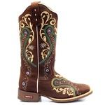 Bota Texana Feminina Bordado Cowgirls