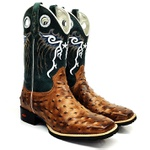 Bota Texana Masculina Country Estilo Avestruz Cano Longo