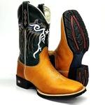 Bota Texana Country Cano Longo Bico Quadrado Bordada