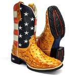 Bota Texana Bandeira USA Country Estilizada Avestruz - Americana