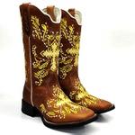 Bota Feminina Texana Country Bordado Cruz Dourado