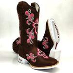 Bota Texana Feminina Sola Branca Cruz Floral Bordado Rosa