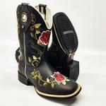 Bota Texana Feminina Floral Cano Longo Preto