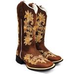 Bota Texana Country Feminina Bordado Floral