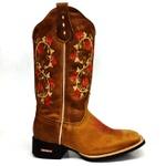 Bota Texana Feminina Country Bordado Florzinhas Muidas