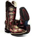 Bota Feminina Texana Country Floral Love-II