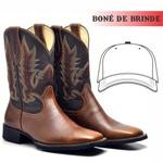 Bota Texana Masculina Couro Bovino + Boné de Brinde