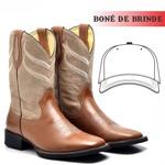Bota Texana Rodeio Masculina Couro Bovino + Boné de Brinde