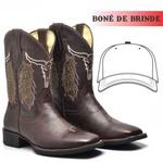 Bota Texana Masculina Couro Nobre Touro + Boné de Brinde