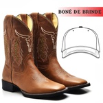 Bota Texana Masculina Country Couro Nobre Touro + Boné de Brinde