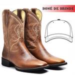 Bota Texana Masculina Couro Nobre Basic + Boné de Brinde