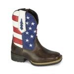 Bota Texana Infantil Bandeira Estado Unidos - Marrom/Branco/Vermelho/Azul