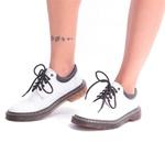 Sapato Colegial Inglês Estilo Veggie Verniz Branco Baixo