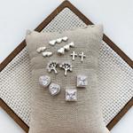Brinco Quadrado Zircônias em Prata 925