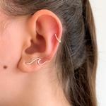 Brinco Ear Cuff Onda em Prata 925