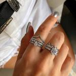 Anel Coroa Corações Envelhecido em Prata 925