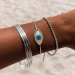 Bracelete Olho Grego Madrepérola Ajustável em Prata 925