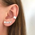 Brinco Ear Cuff Fases da Lua Envelhecido em Prata 925