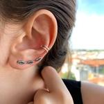 Brinco Ear Cuff Folhas Envelhecido em Prata 925