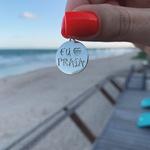 Pingente Eu Amo Praia Envelhecido em Prata 925