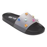 Chinelo Slide Trendy Multicolorido - Preto
