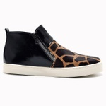 Tênis Botinha Slip On Manhattan - Preto/Giraffe - Couro Legítimo