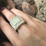 Anel De Ouro 18k Pavê Escada De Diamantes