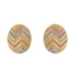 Brinco De Ouro 18k Botão Zigzag Tricolor Diamantado