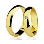 Par De Aliança Casamento De Ouro 18k Com 4mm e Diamante De 2 Pontos